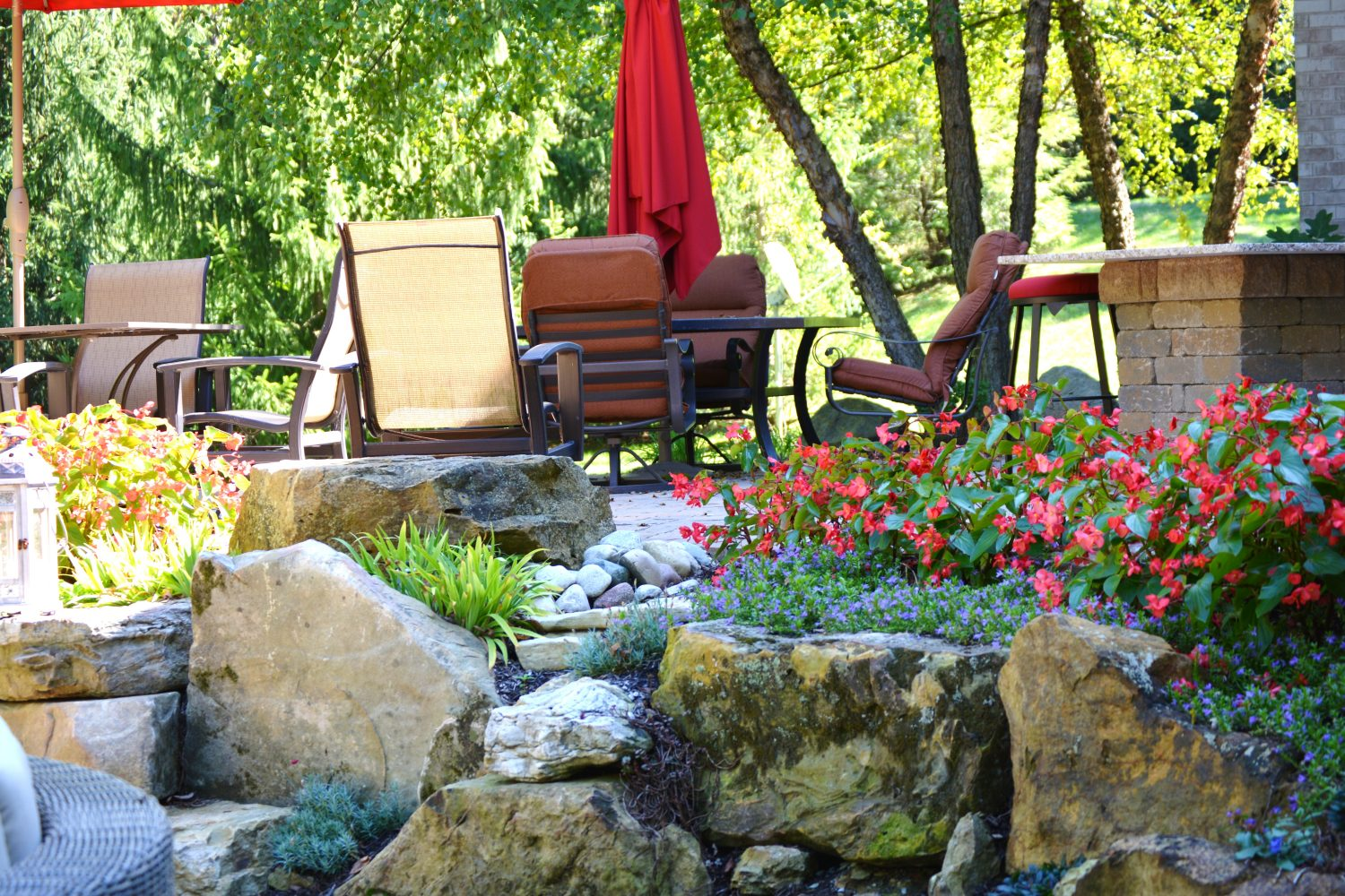 Natural hardscaping and patio furniture