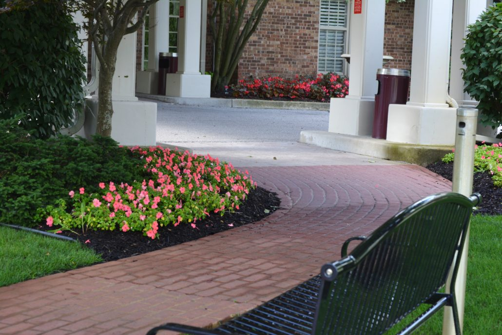 Mulched flower beds lining a brick path