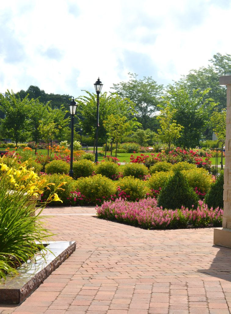 Brick path in park surrounded by flowers