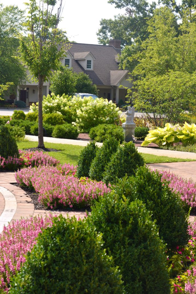 Trimmed shrubs and annuals